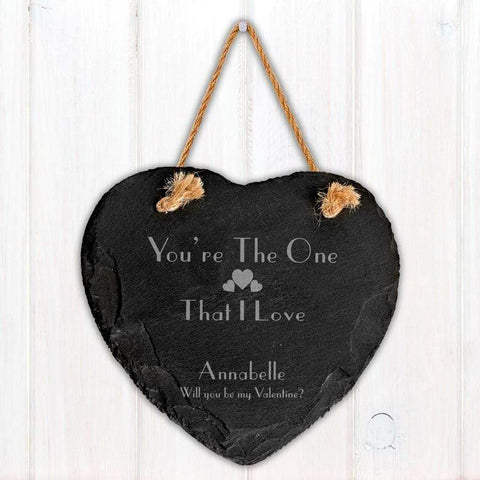 Engraved The One I Love Slate Heart Decoration - Official Merchandise Gifts