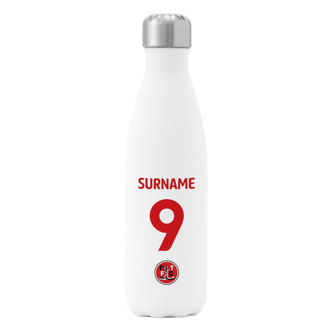 Fleetwood Town FC Back of Shirt Insulated Water Bottle - White - Official Merchandise Gifts