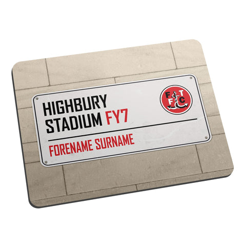 Fleetwood Town FC Street Sign Mouse Mat - Official Merchandise Gifts