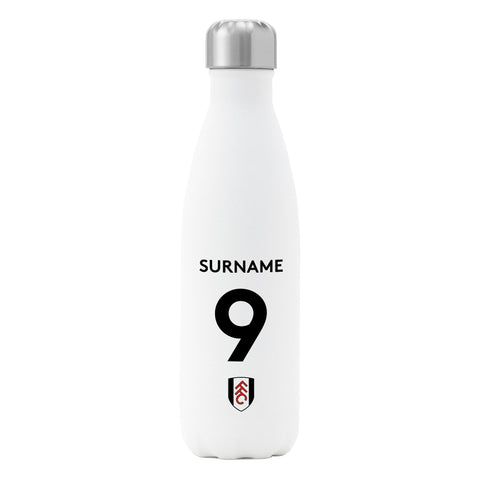 Fulham FC Back of Shirt Insulated Water Bottle - White - Official Merchandise Gifts