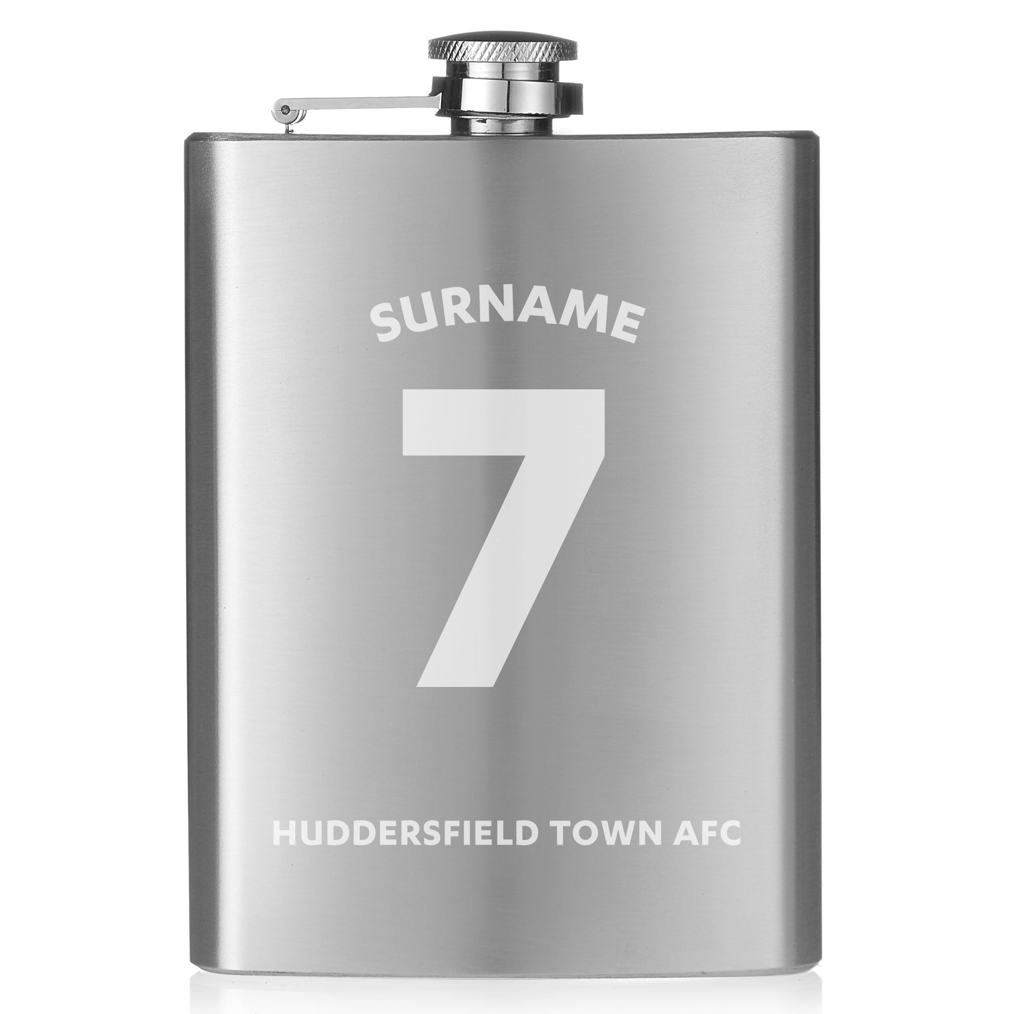 Personalised Huddersfield Town Shirt Hip Flask, Food & Beverage Carriers by Glamorous Gifts UK