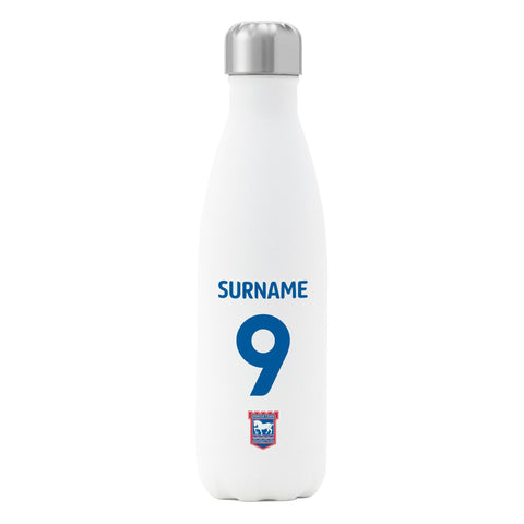 Ipswich Town FC Back of Shirt Insulated Water Bottle - White - Official Merchandise Gifts