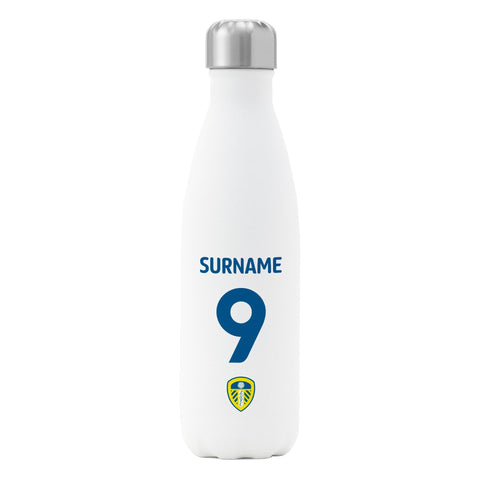 Leeds United FC Back of Shirt Insulated Water Bottle - White - Official Merchandise Gifts