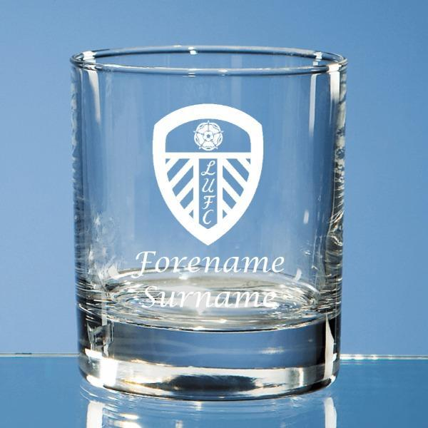 Leeds United FC Crest Bar Line Old Fashioned Whisky Tumbler - Official Merchandise Gifts