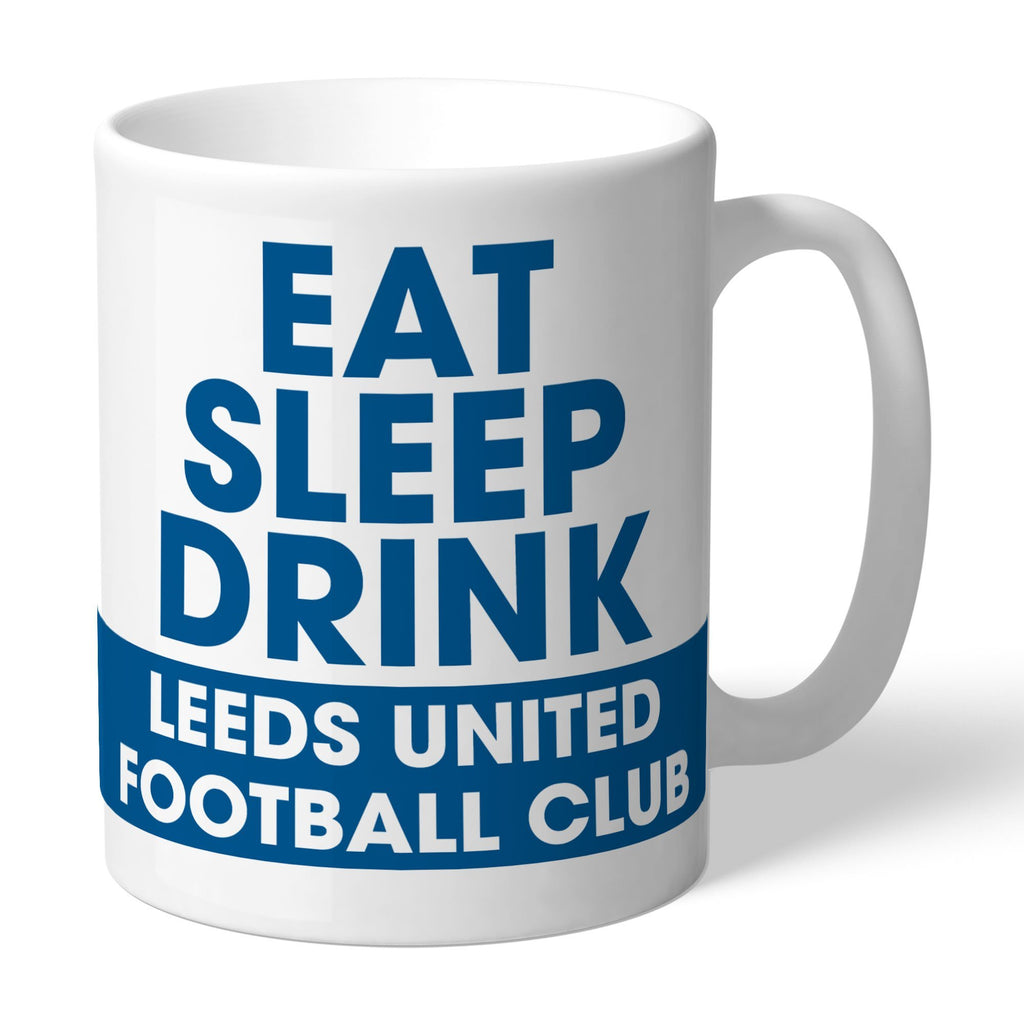 Leeds United FC Eat Sleep Drink Mug - Official Merchandise Gifts