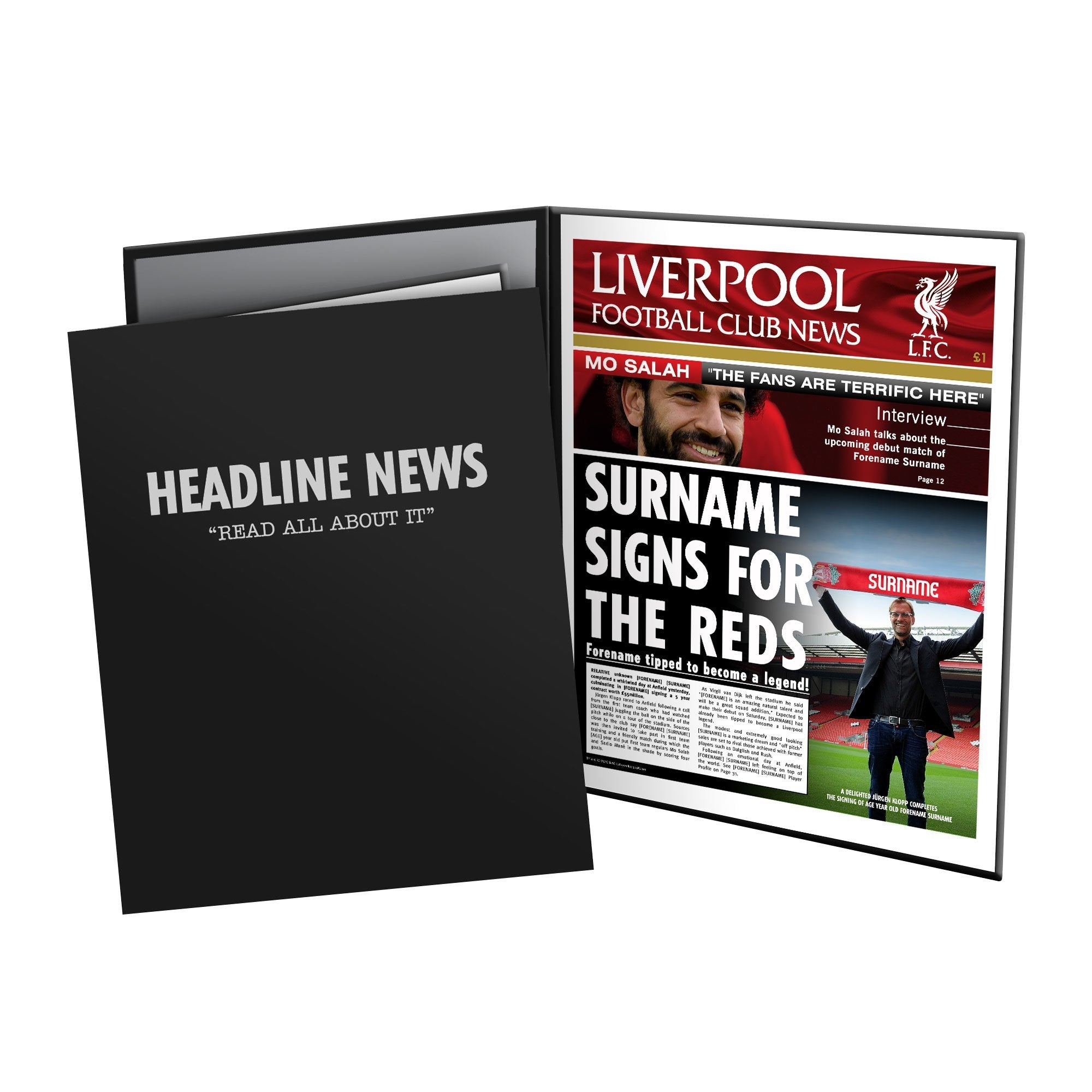 Personalised Liverpool FC News Page In Presentation Folder, Football Fan Accessories by Glamorous Gifts