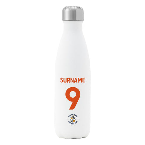 Luton Town FC Back of Shirt Insulated Water Bottle - White - Official Merchandise Gifts