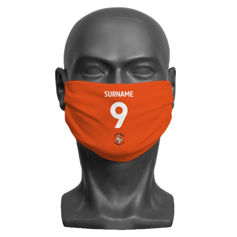 Luton Town FC Back of Shirt Personalised Face Mask - Official Merchandise Gifts