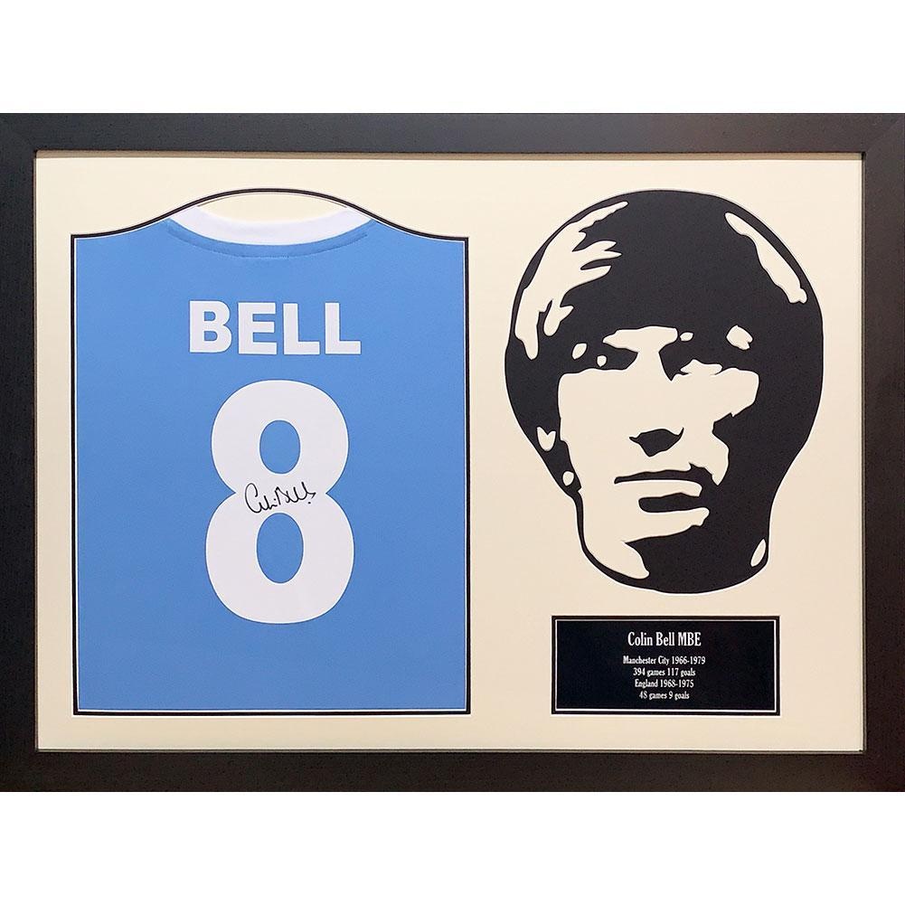 Manchester City FC Bell Signed Shirt Silhouette, Autographed Sports Paraphernalia by Glamorous Gifts