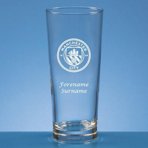 Manchester City FC Personalised Crest Beer Glass - Official Merchandise Gifts