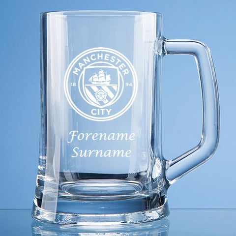 Manchester City FC Personalised Large Tankard Glass - Official Merchandise Gifts
