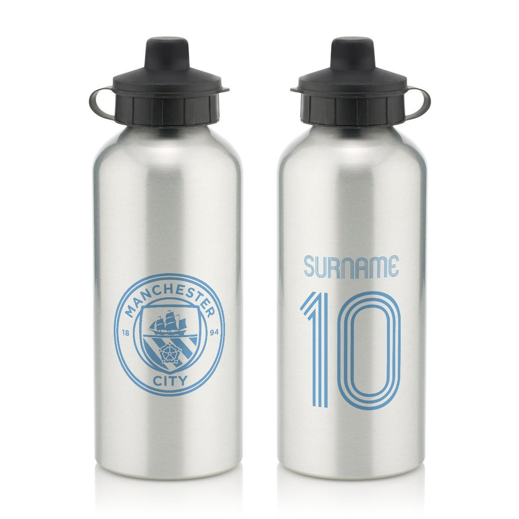 Manchester City FC Retro Shirt Water Bottle - Official Merchandise Gifts