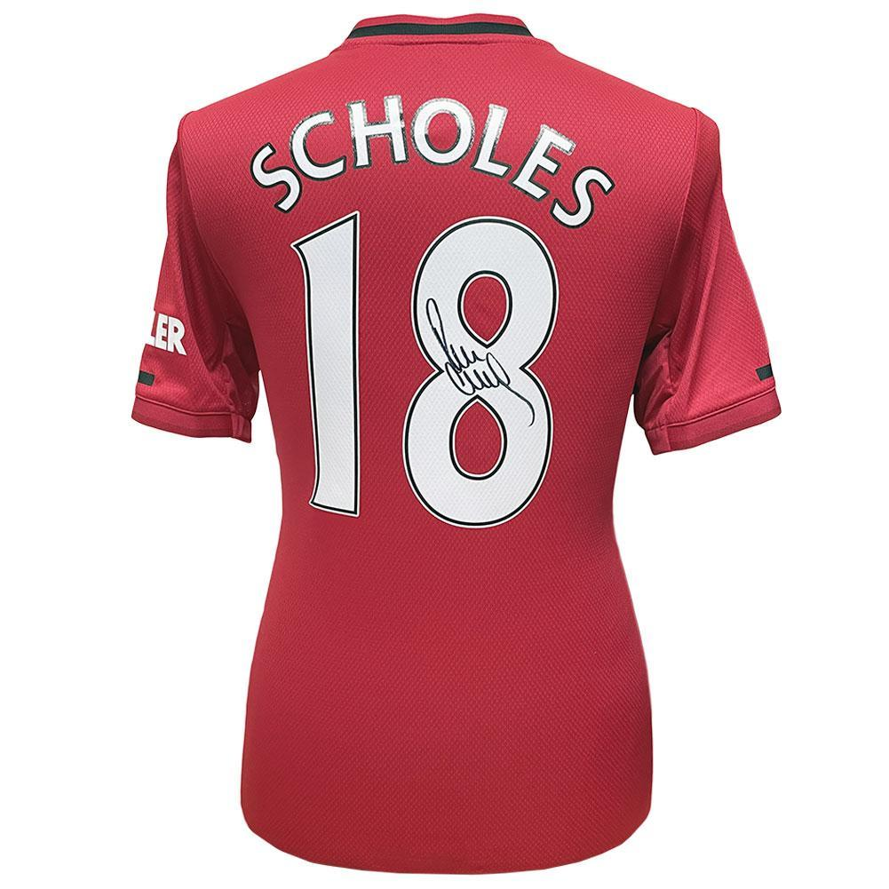 Manchester United FC Scholes Signed Shirt, Autographed Sports Paraphernalia by Glamorous Gifts