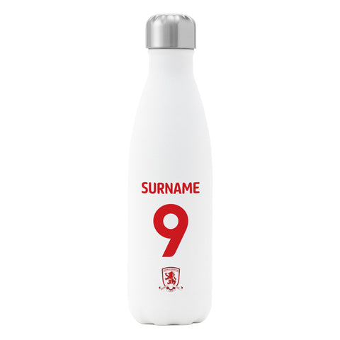 Middlesbrough FC Back of Shirt Insulated Water Bottle - White - Official Merchandise Gifts