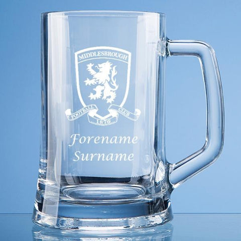 Middlesbrough FC Crest Large Plain Straight Sided Tankard - Official Merchandise Gifts