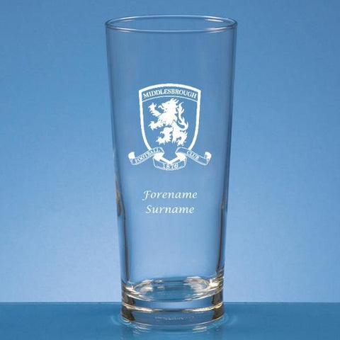 Middlesbrough FC Crest Straight Sided Beer Glass - Official Merchandise Gifts