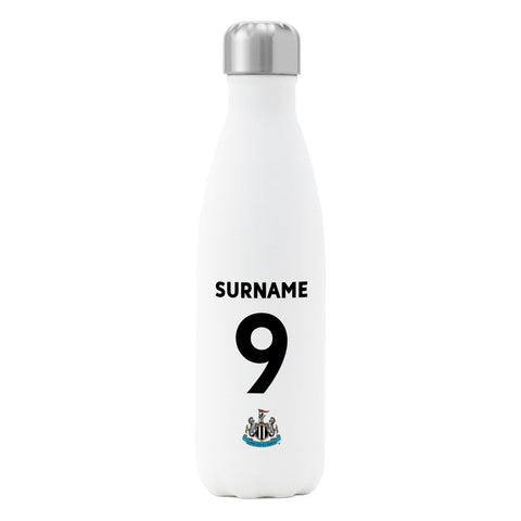 Newcastle United FC Back of Shirt Insulated Water Bottle - White - Official Merchandise Gifts