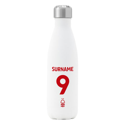 Nottingham Forest FC Back of Shirt Insulated Water Bottle - White - Official Merchandise Gifts