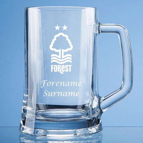 Nottingham Forest FC Crest Large Tankard Glass - Official Merchandise Gifts