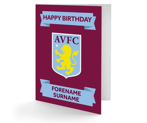 Personalised Aston Villa Birthday Card - Official Merchandise Gifts