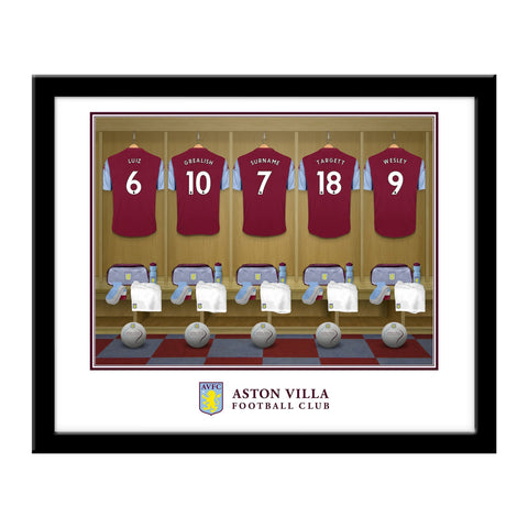 Personalised Aston Villa Dressing Room Print - Framed - Official Merchandise Gifts