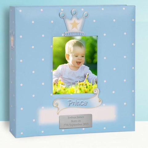 Personalised Baby Boy Photo Album - Prince Design - Official Merchandise Gifts