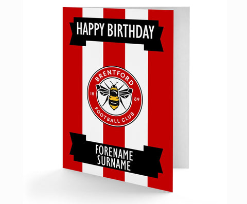 Personalised Brentford Birthday Card - Official Merchandise Gifts