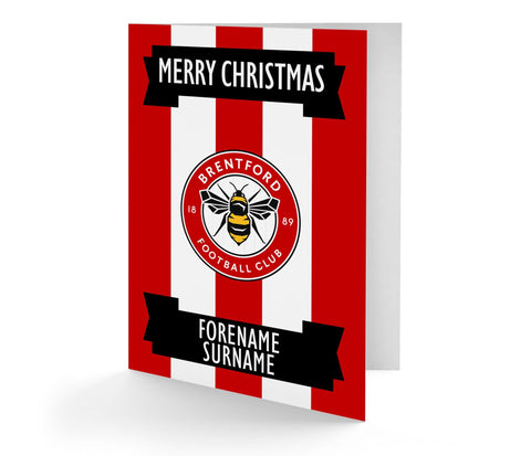 Personalised Brentford Christmas Card - Official Merchandise Gifts