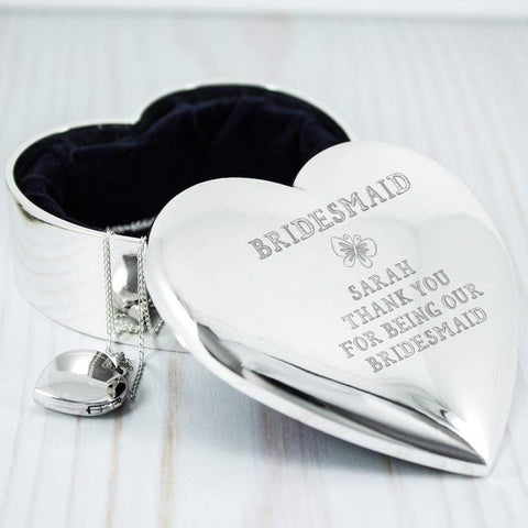 Personalised Bridesmaid Butterflies Heart Trinket Box - Official Merchandise Gifts