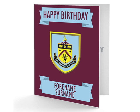 Personalised Burnley Birthday Card - Official Merchandise Gifts