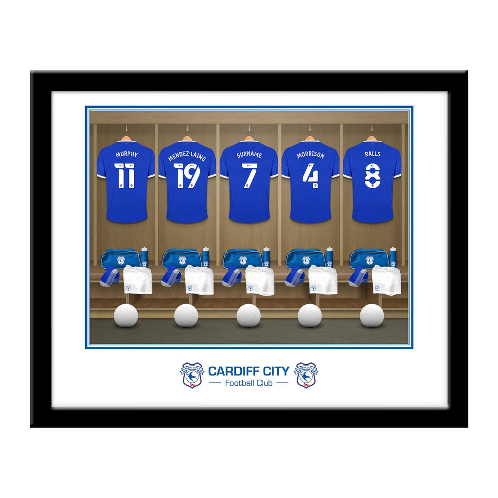 Personalised Cardiff City Dressing Room Framed Print - Official Merchandise Gifts