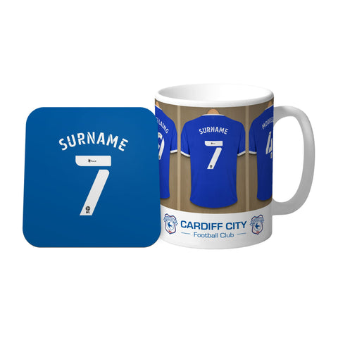 Personalised Cardiff City FC Dressing Room Mug & Coaster Set - Official Merchandise Gifts