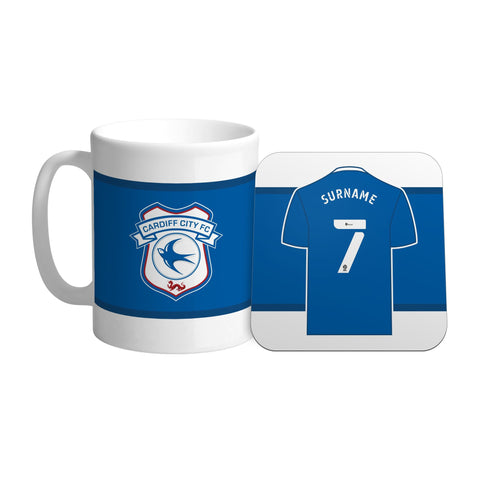 Personalised Cardiff City FC Shirt Mug & Coaster Set - Official Merchandise Gifts