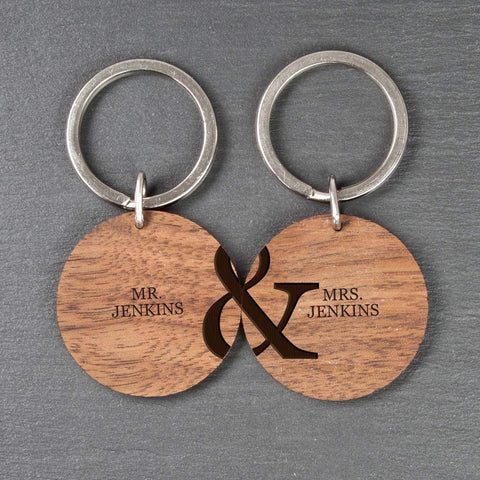 Personalised Couples Set of Two Wooden Keyrings - Official Merchandise Gifts