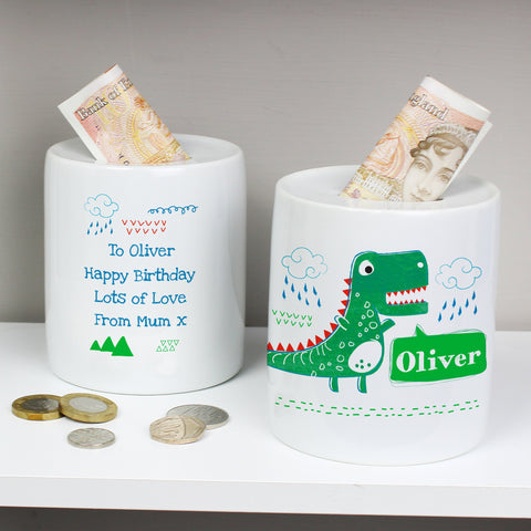 Personalised Dinosaur Money Box - Official Merchandise Gifts