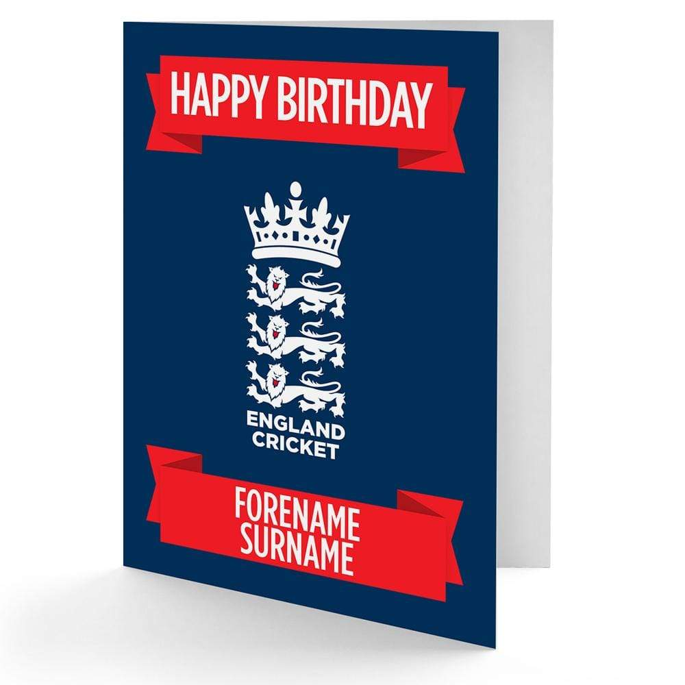 Personalised England Cricket Birthday Card - Official Merchandise Gifts