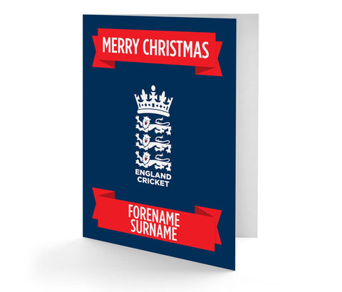 Personalised England Cricket Christmas Card - Official Merchandise Gifts