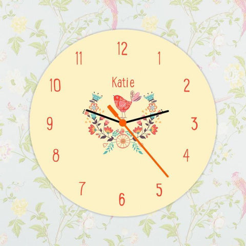 Personalised Floral Birds Clock - Ideal For Girl's Bedroom - Official Merchandise Gifts