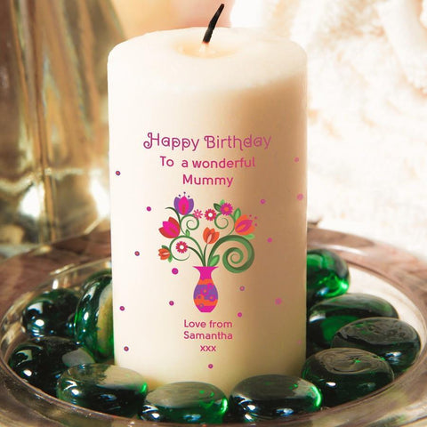 Personalised Flowers And Vase Candle - Official Merchandise Gifts