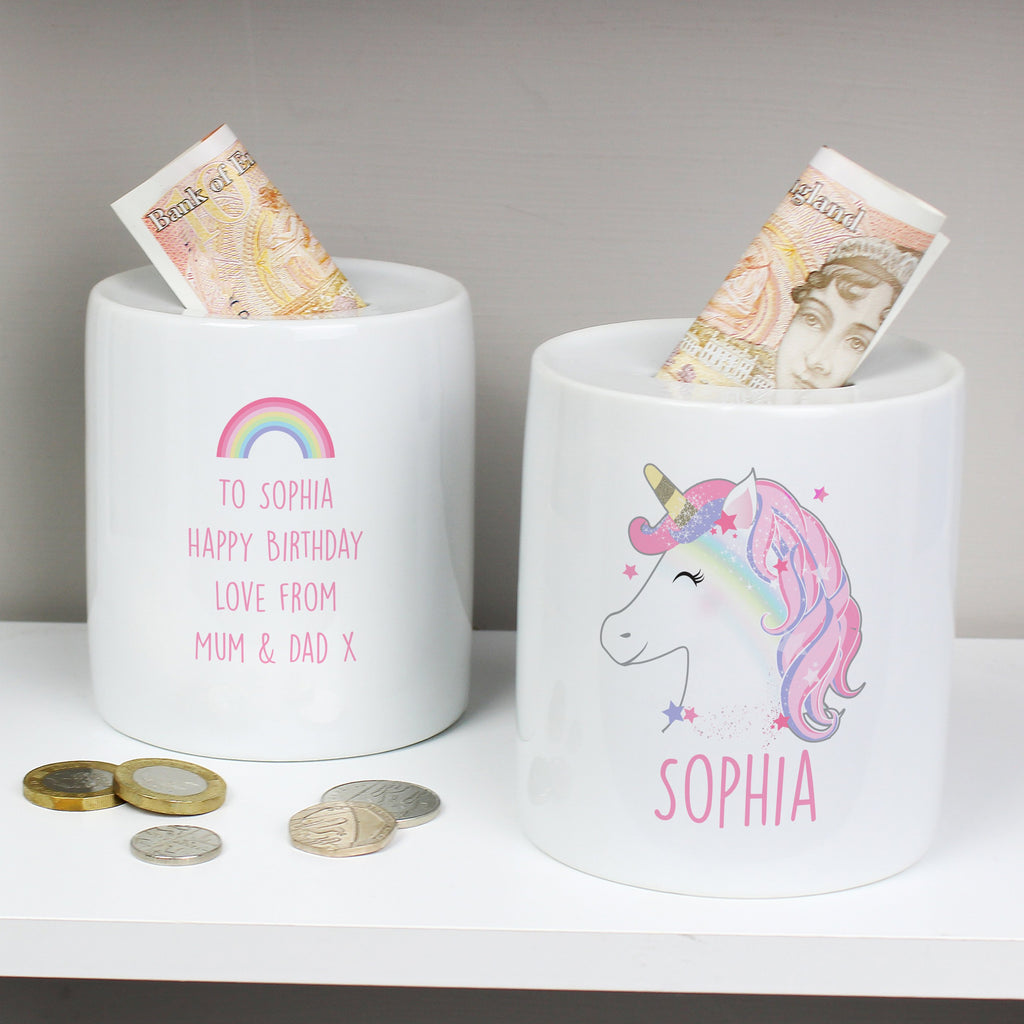 Personalised Girls Unicorn Money Box - Official Merchandise Gifts