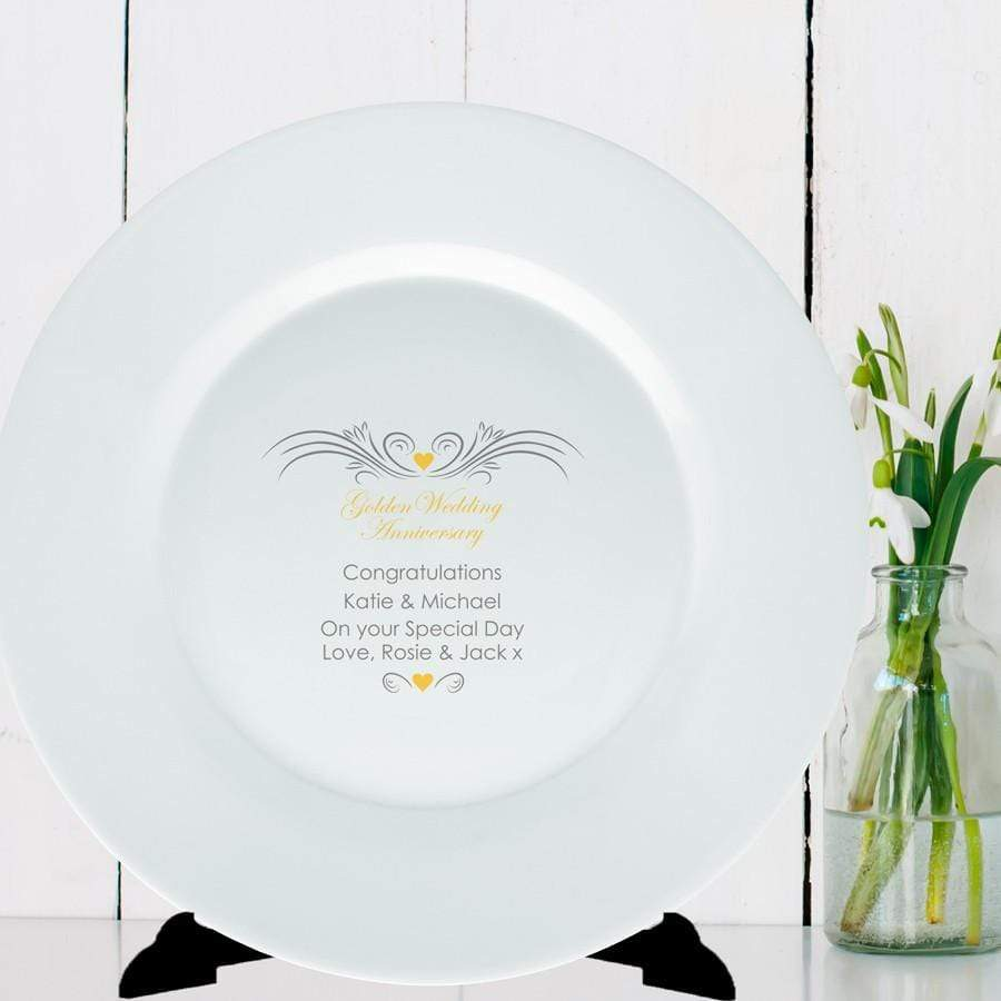 Personalised Golden Anniversary Plate - Official Merchandise Gifts