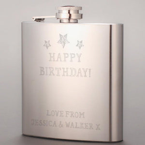 Personalised Happy Birthday Stars Hip Flask - Official Merchandise Gifts