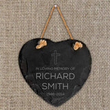 Personalised In Loving Memory Cross Slate Heart - Official Merchandise Gifts