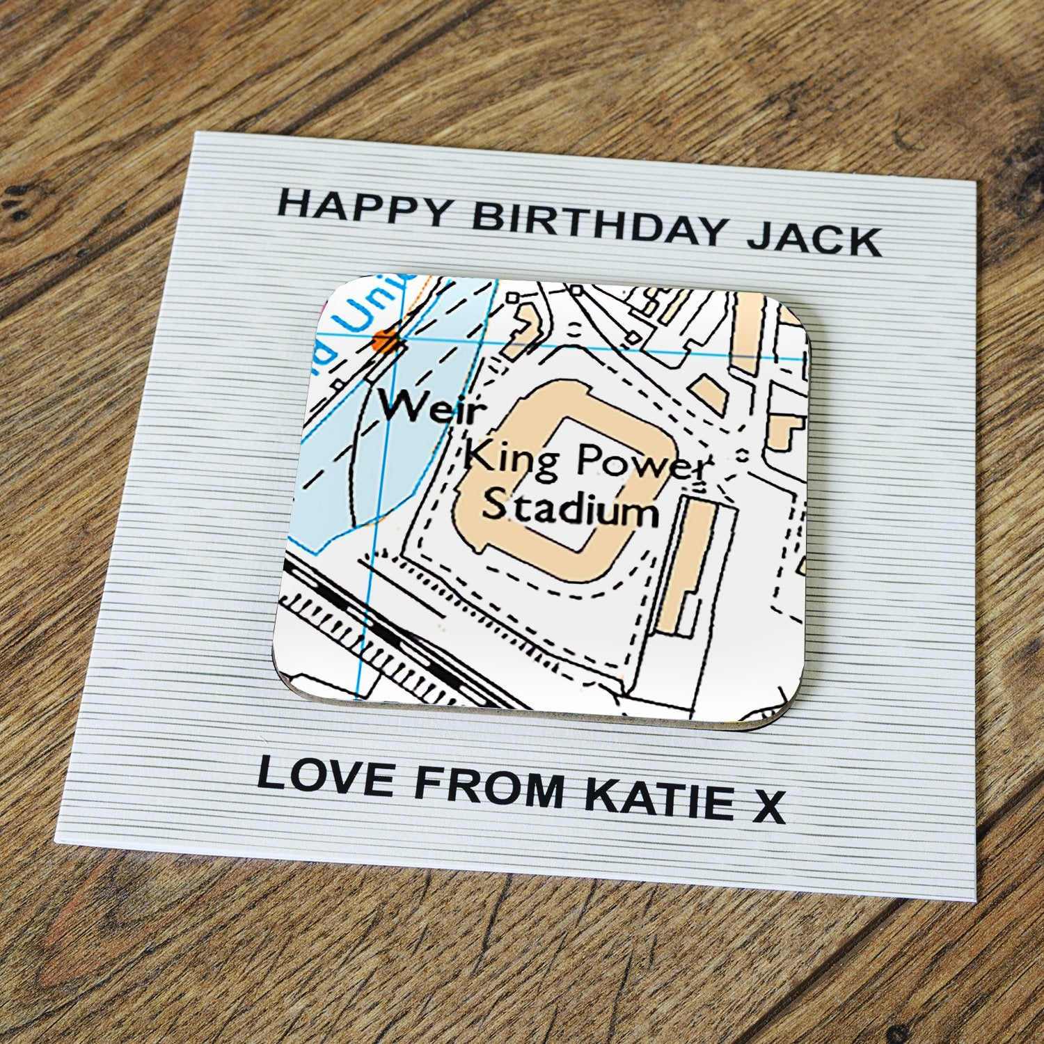 Personalised Leicester City Card & Coaster, Barware by Glamorous Gifts UK