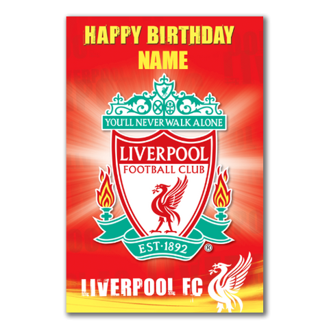 Personalised Liverpool FC Crest Birthday Card - Official Merchandise Gifts