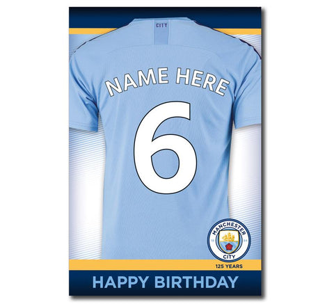 Personalised Manchester City Birthday Card - Name and Number - Official Merchandise Gifts