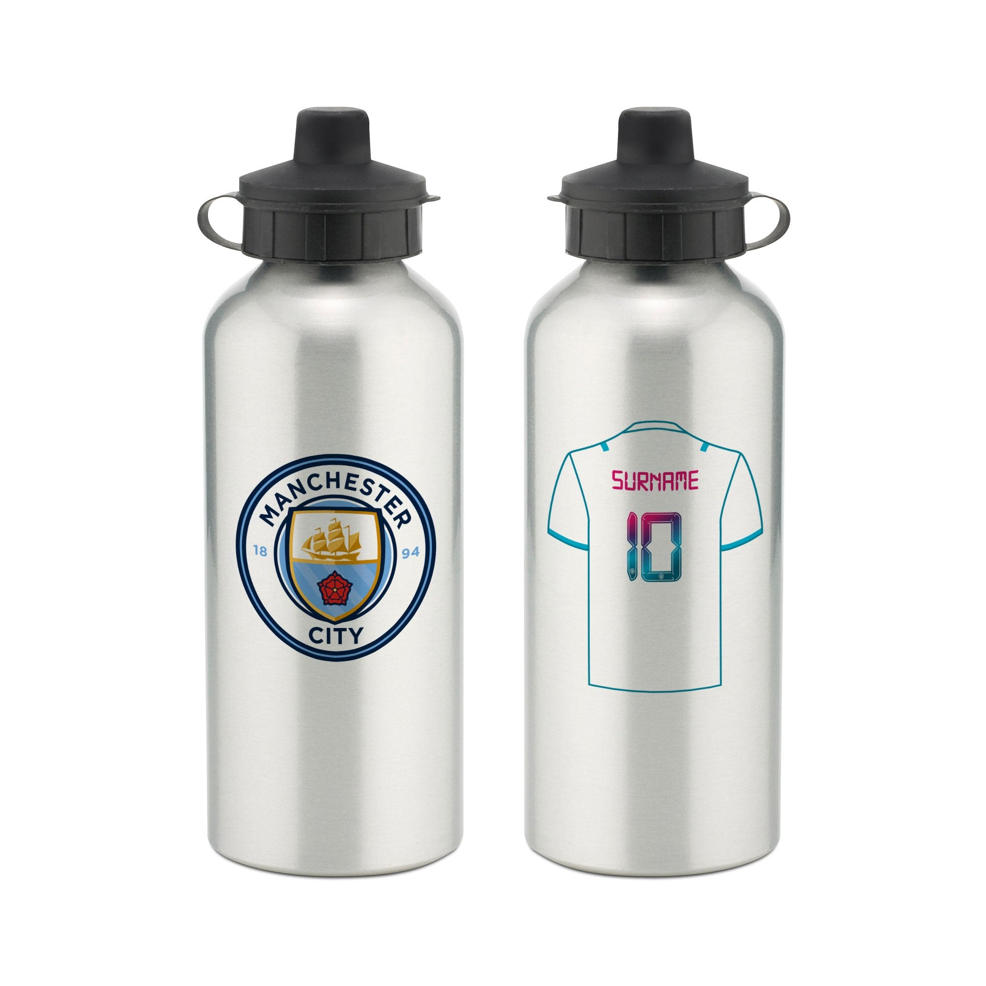 Personalised Manchester City FC Away Aluminium Water Bottle, Home & Garden by Glamorous Gifts