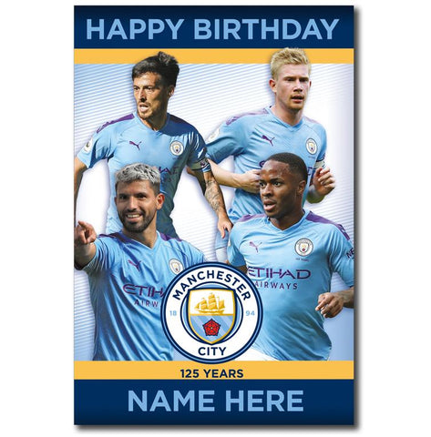 Personalised Manchester City Player Birthday Card - Official Merchandise Gifts
