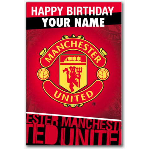 Personalised Manchester United Crest Birthday Card - Official Merchandise Gifts