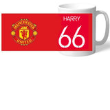 Personalised Manchester United FC Back Of Shirt Mug - Official Merchandise Gifts